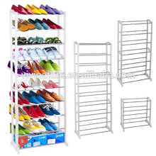 Portable space saving plastic shoe storage rack with white color