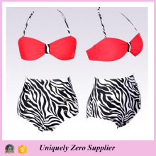 2016 Hot Sale Sexy Mulheres Zebra Prints Tankini Bikini com calças de cintura alta