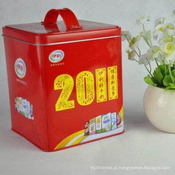 Caixa de lata quadrada, pequena caixa de estanho quadrada, recipientes de estanho quadrados