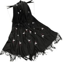 Los precios baratos imprimieron las borlas del bordado del cisne de las señoras falsa bufanda del pasmina del cachemira