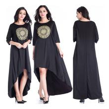 Les femmes de haute qualité abaya taille libre mélange de coton robe noire abaya d'Indonésie