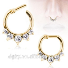 Gold princess CZ nose septum clicker ear cartilage piercing barbells body jewelry