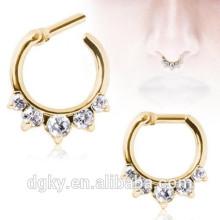 Ouro princesa CZ nariz septum clicker orelha cartilagem piercing barbells corpo jóias