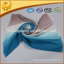 2015 New Fashion High Quality Yarn Dyed Wide 100% Wool Ombre Scarf For Lady