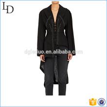 Lace-Up Lin-Coton lady blouse 2017 irrégularité long style de retour pour les femmes