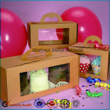 Good Quality Kraft Paper Cupcake Box With Handle