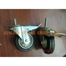 Industrial hooded caster with brake