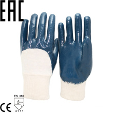 NMSAFETY blue nitrile half coated glove/oil industrial work glove/oil industrial protective gloves