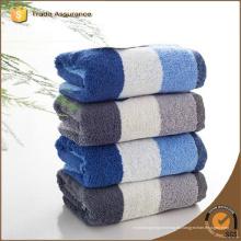 100% algodón Hilado teñido de rayas azul y blanco toalla de baño