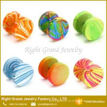 Edelstahl-Neonfarbe anodisierte runde Scheibe Earrins gefälschten Stecker-Schmucksachen