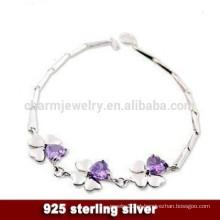 CYL008 925 jóias de prata, prata esterlina pulseira trevo de quatro folhas, Namorada presentes de Natal Pulseira de cristal de cristal roxo