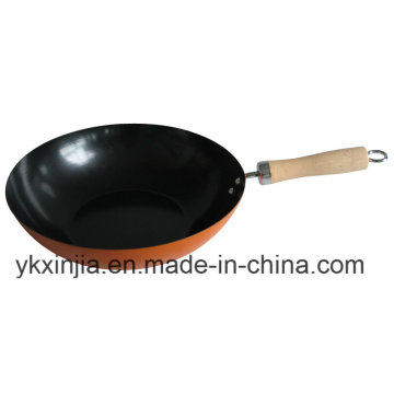 Küchenartikel Orange Carbon Steel Non-Stick Kochgeschirr Wok