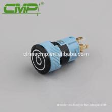 16 mm plástico 1NO 1NC Restablecer o enclavamiento Interruptor de botón de luz LED negro
