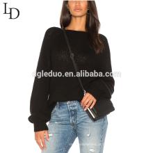 Mais recente design liso feio oversized senhora camisola de malha de cashmere pulôver