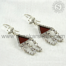 Bridal designer red onyx silver earring gemstone jewelry jaipur 925 sterling silver jewelry manufacturing