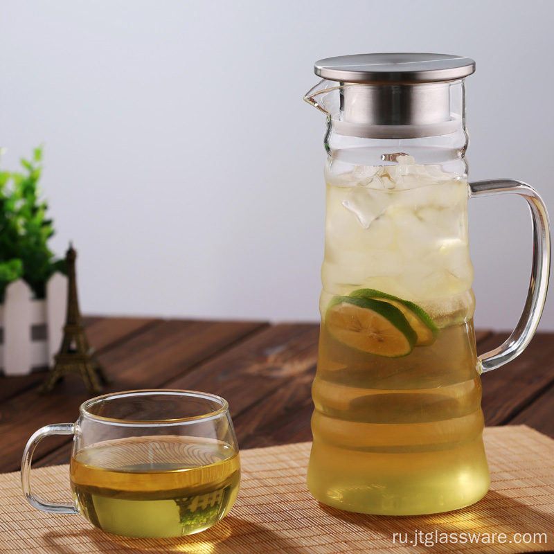 Large capacity glass ice tea infuser picther