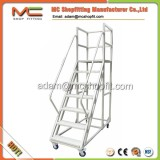 Metal heavy duty foldable movable platform ladder, movable step ladder