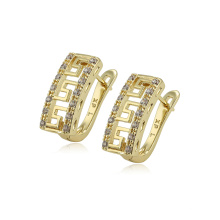 97153 xuping fashion high quality 14k gold color zircon paved ladies hoop earrings