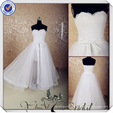 JJ3620 Real Sample Lace removable tulle overskirt wedding dress short
