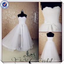JJ3620 Real Sample Lace removível vestido de casamento de Tulle overskirt curto
