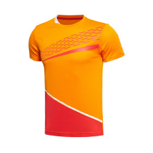 Venta al por mayor Coolmax seco ajuste de dos huesos de fitness redonda de cuello de gimnasia al por mayor 100% poliéster camiseta para hombres