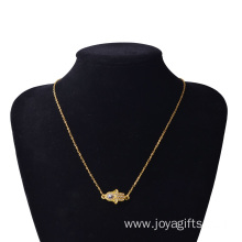 Gold Hand of Fatima Alloy Pendant Necklace