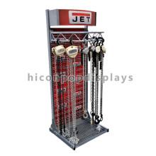 Heavy Duty Stand Alone Fixture Custom Design Gancho Industrial com Cadeia Headup Jet Display Racks