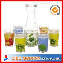 Dispensador de bebidas de vidrio impreso 7PC