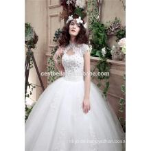 Hot White Tulle Puffy Brautkleider bodenlangen Luxus Perlen Ballkleid Brautkleider 2016