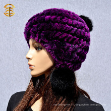 Vente en gros en Chine Crochet Rabbit Fur Beanie Lady Winter Hat