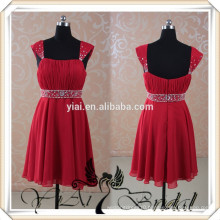 RSE63 Wholesale Short Red Chiffon Cap Sleeve Crystal Beading Made To Order Bridesmaid Dresses China