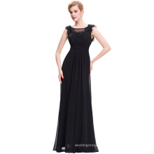 Starzz Full Length Backless Sleeveless Black Chiffon Long Evening Gowns Dress 2016 ST000074-1