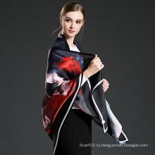 Черная женщина 100% Silk Satin Большой квадратный шарф