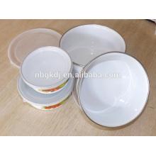 5 pc enamel coating Chinese style ice bowl sets & carbon steel