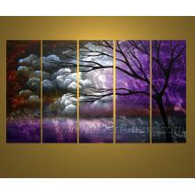 Décoration murale artisanale Peinture à l'huile d'arbre de paysage