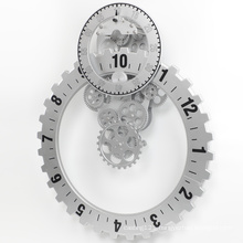 Big silver gear wall clock