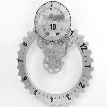 Relógio de parede grande engrenagem de prata
