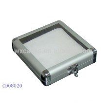 20 CD disques aluminium DVD box avec un dessus en acrylique clair en gros fabricant, Chine