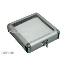 Caixa de alumínio DVD CD 20 discos com uma tampa de acrílico transparente, vendas por atacado de China fabricante