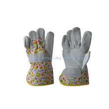 Fourrure de vache en cuir double Palm Garden Pattern Back Work Glove