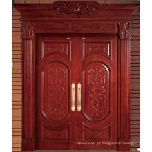 Porta dupla de madeira sólida de alta qualidade marrom vermelho com escultura