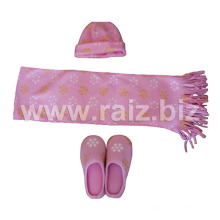 Printed Cap & Scarf & Slippers Set