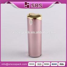 Plastic Cosmetic Packaging Luxo e Acrílico Cone Shape 40ml 60ml 80ml 120ml Elegante Loção Rosa Bomba Screen Printing Garrafa