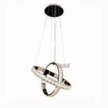 2 anéis de cristal K9 iluminação moderna lustre de luxo
