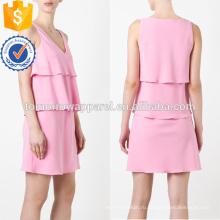 Последний дизайн рукав розовый Наслоенные V-образным вырезом мини летнее платье Производство Оптовая продажа женской одежды (TA0013D)