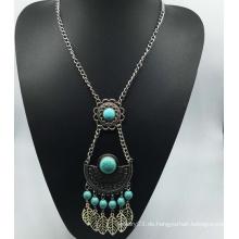 Lange Kette Naturstein Perlen Legierung Halskette (XJW13774)