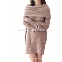 PK17ST454 2018 Mode Kleid Merino Wolle Off-Schulter Frau Kleid