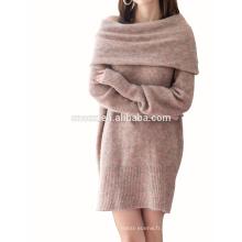 PK17ST454 2018 mode robe en laine mérinos femme épaule-off robe