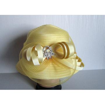 Igreja de fita de cetim moda feminina chapéus