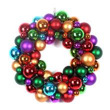 """18"""" Plastic Christmas Ball Wreath with Metal Base"""